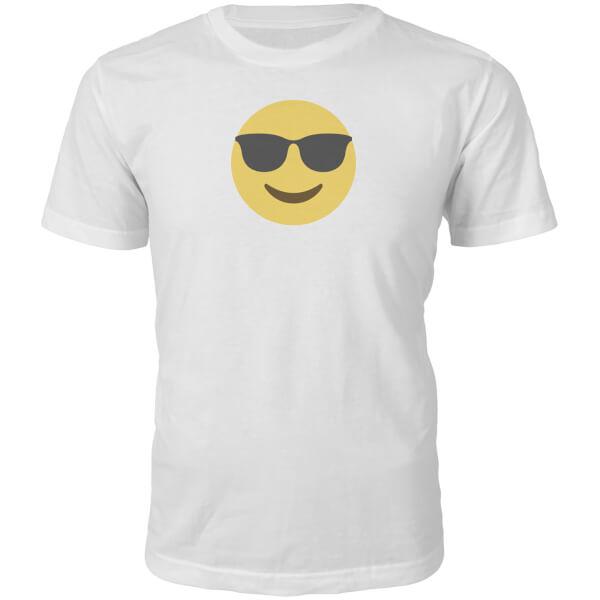 T-Shirt Unisexe Emoji Cool et Lunettes de Soleil -Blanc