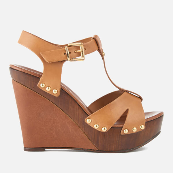 Carvela Women's Katey Leather Wedged Sandals - Tan