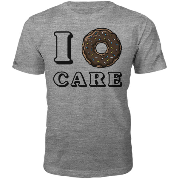 I Donut Care Slogan T-Shirt - Grey