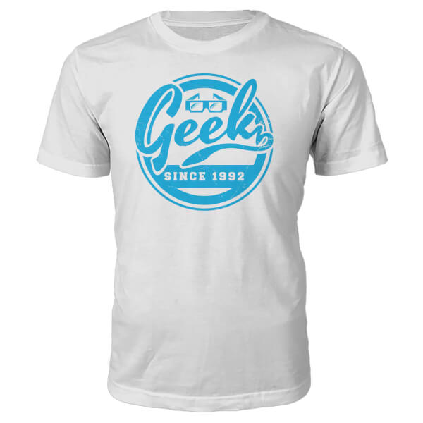 T-Shirt Geek Since 1990's -Blanc - L - 1992