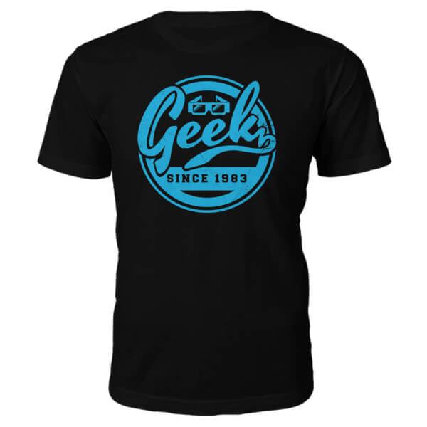 T-Shirt Geek Established 1980's -Noir - XXL - 1983
