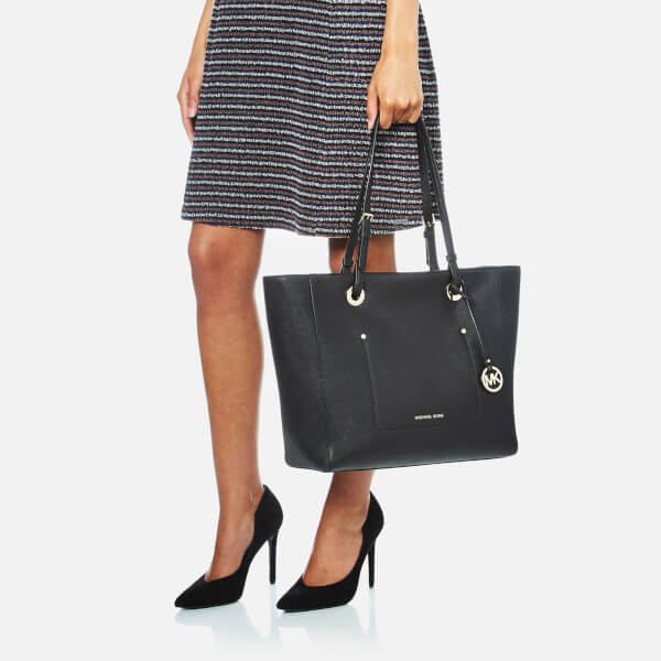 edf32e143ea2 MICHAEL MICHAEL KORS Women's Walsh Large East West Top Zip Tote Bag -  Black: Image