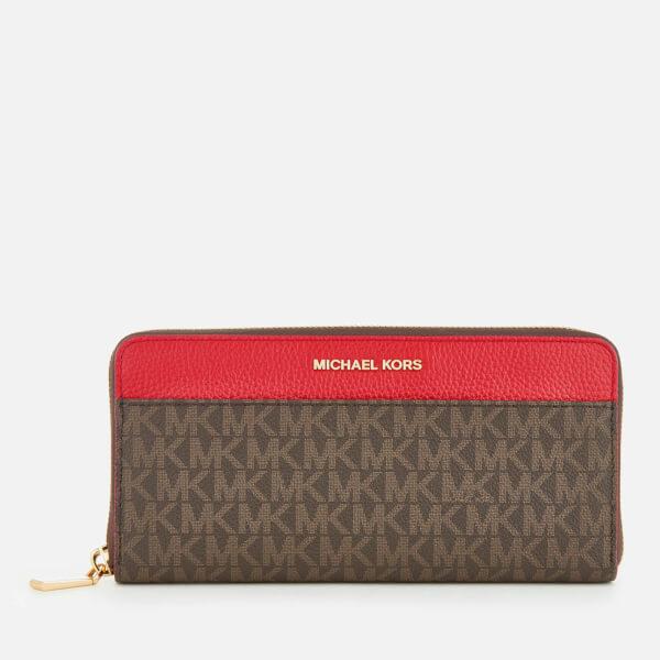 MICHAEL MICHAEL KORS Women's Mercer Pocket Zip Around Continental Purse - Brown/Bright Red