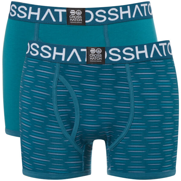Lot de 2 Boxers Syntho Crosshatch - Bleu Turquoise