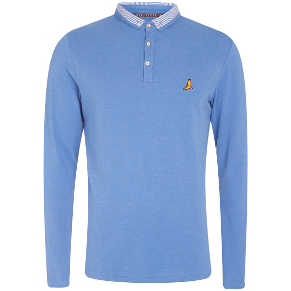 Brave Soul Men's Hatter Long Sleeve Polo Shirt - Blue Marl