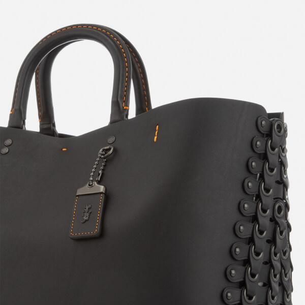 84c03bf63e1 Coach 1941 Women's Linked Leather Detail Rogue Tote Bag - Black: Image 5