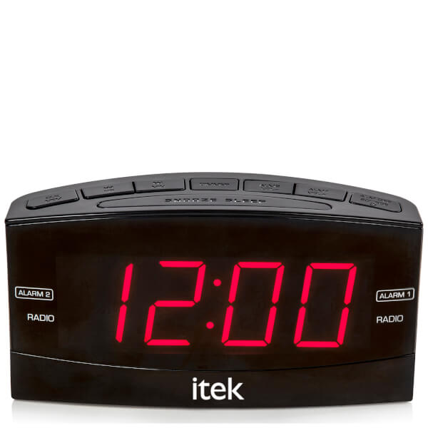 itek senior big button jumbo led alarm clock radio black electronics zavvi. Black Bedroom Furniture Sets. Home Design Ideas