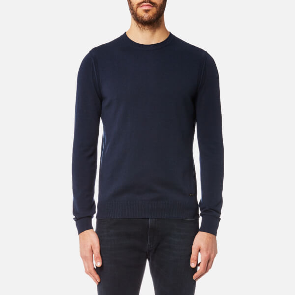 BOSS Orange Men's Albonon Merino Crew Knitwear Jumper - Dark Blue