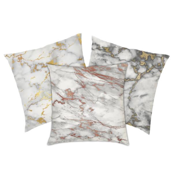 Marble Print Cushion - Gold Marbles