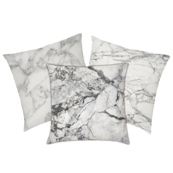Marble Print Cushion - White Marbles
