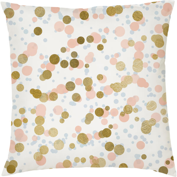 Confetti Print Cushion - Gold and Pink