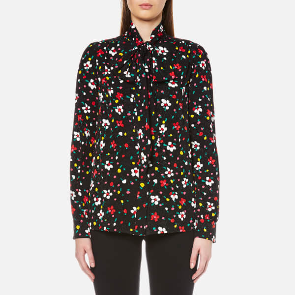 Marc Jacobs Women's Tie Neck Long Sleeve Blouse - Black Multi