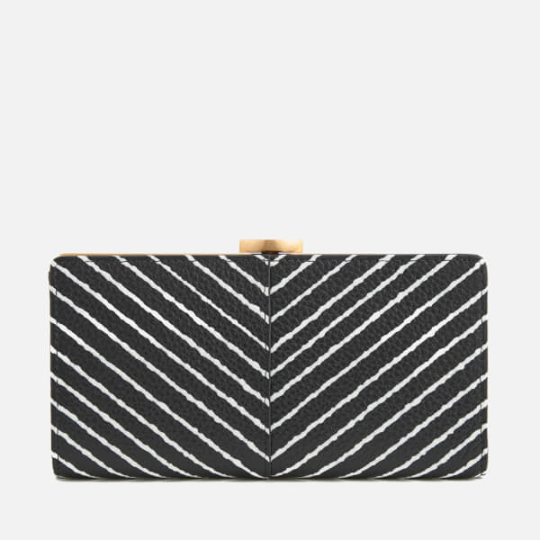 Lulu Guinness Women's Diagonal Stripe Flat Frame Purse - Black/Chalk