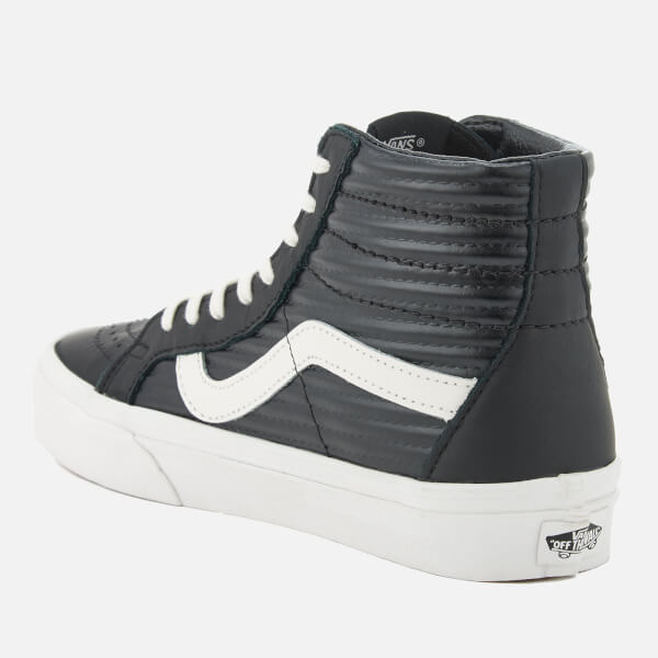 5d7682c094cc Vans Women s Sk8-Hi Reissue Moto Leather Hi-Top Trainers - Black Blanc