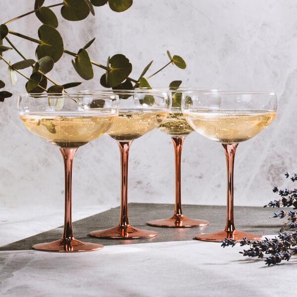 Verres à Champagne Rétro Soirée Vintage - Cuivre (Lot de 4)