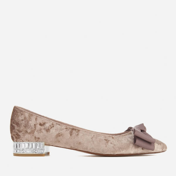 Dune Women's Bow Bela Velvet Pointed Flat Shoes - Mink