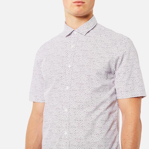 Michael kors men 39 s short sleeve slim benjamin print shirt for Royal purple mens dress shirts