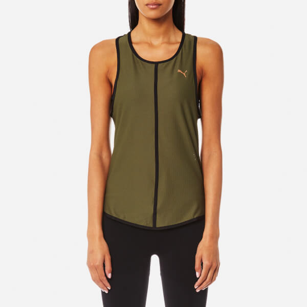 Puma Women's Explosive Mesh Tank Top - Olive Night: Image 1
