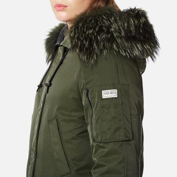 KENZO Women's Technical Outerwear Nylon Hooded Parka Coat - Dark ...