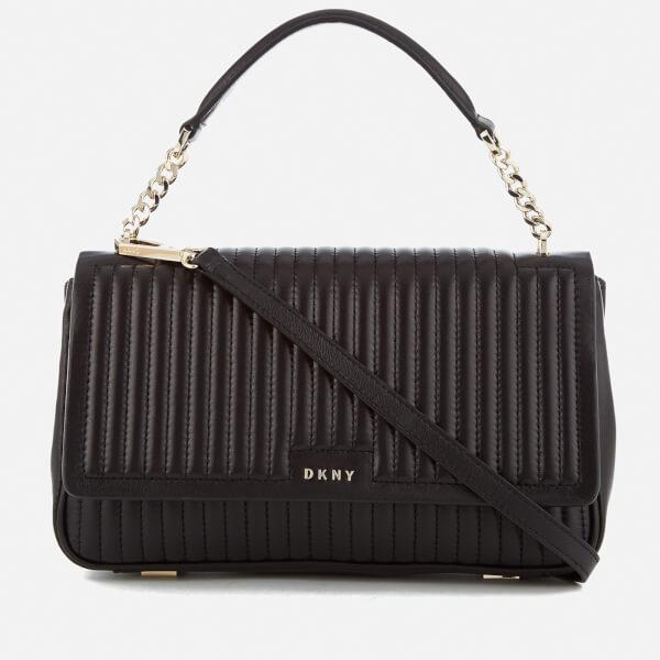 DKNY Women's Pinstripe Quilted Medium Flap Shoulder Bag - Black