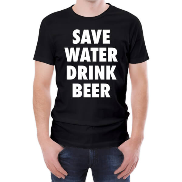T-Shirt Homme Save Water Drink Beer -Noir