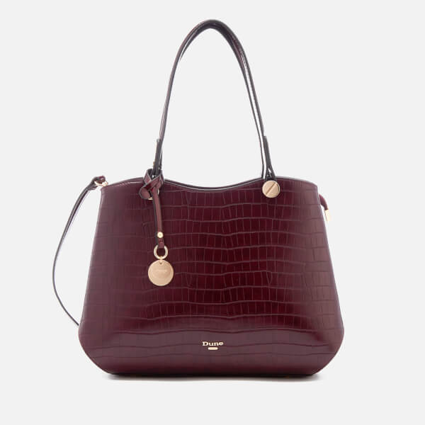 dune women 39 s dimogen croc print tote bag berry damen accessoires. Black Bedroom Furniture Sets. Home Design Ideas