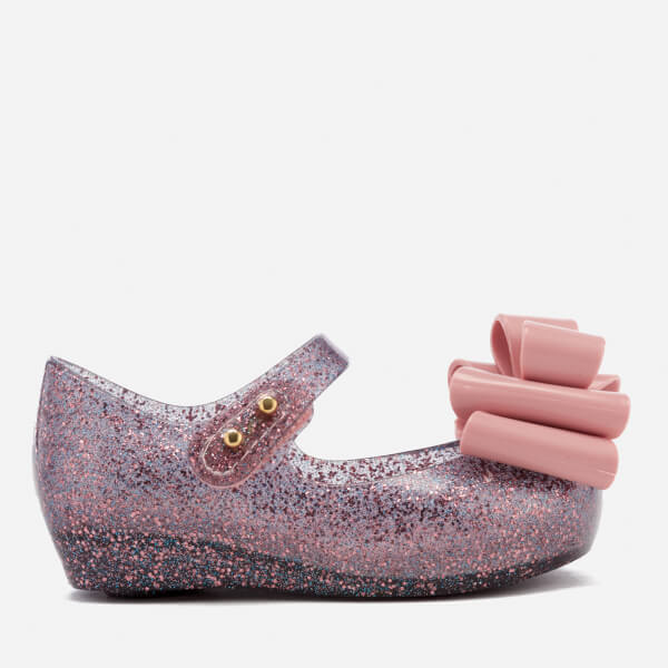 Mini Melissa Toddlers' Ultragirl Triple Bow 18 Ballet Flats - Blush Glitter