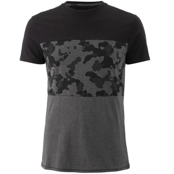 Threadbare Men's Independence Camo Panel T-Shirt - Charcoal