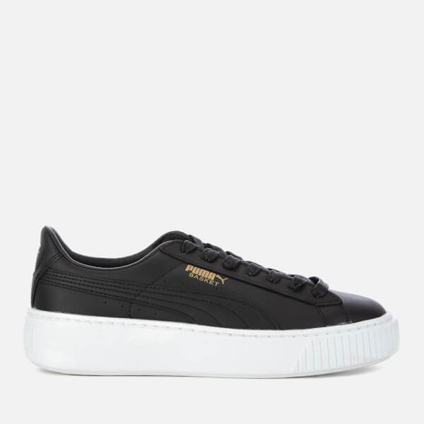 Puma Women's Basket Platform Core Trainers - Puma Black/Gold