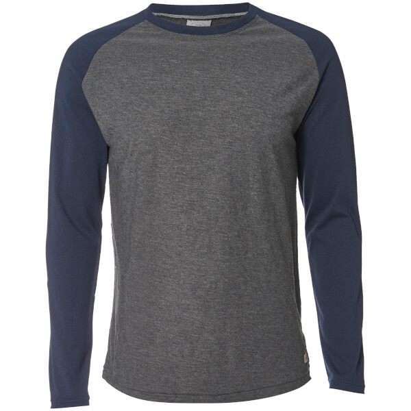Jack & Jones Men's Originals New Stan Raglan Long Sleeve Top - Dark Grey Marl