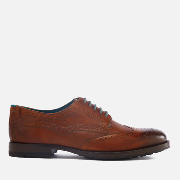 Ted Baker Men's Senape Leather Wingtip Brogues - Tan