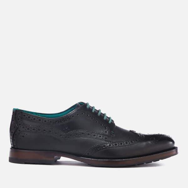 Ted Baker Men's Senape Leather Wingtip Brogues - Black
