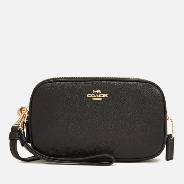 Coach Women's Polished Pebble Cross Body Clutch Bag - Black