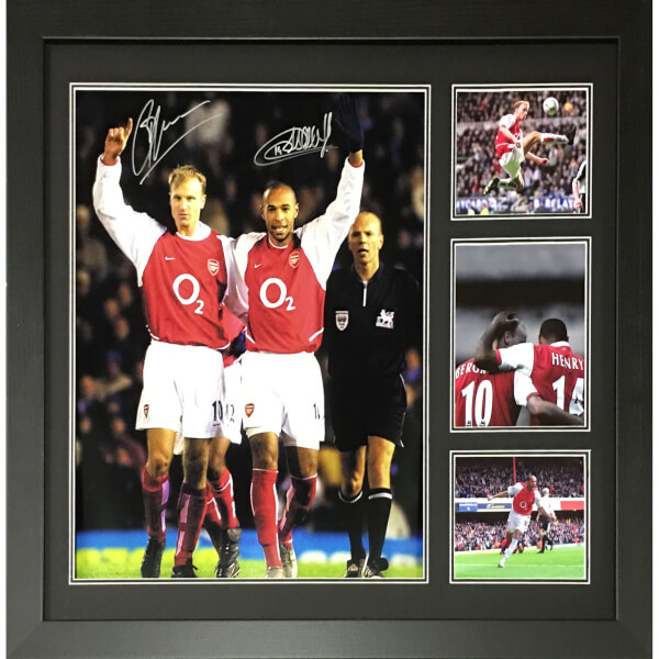 Thierry Henry and Denis Bergkamp Dual Signed and Framed 16 x 20 Photograph