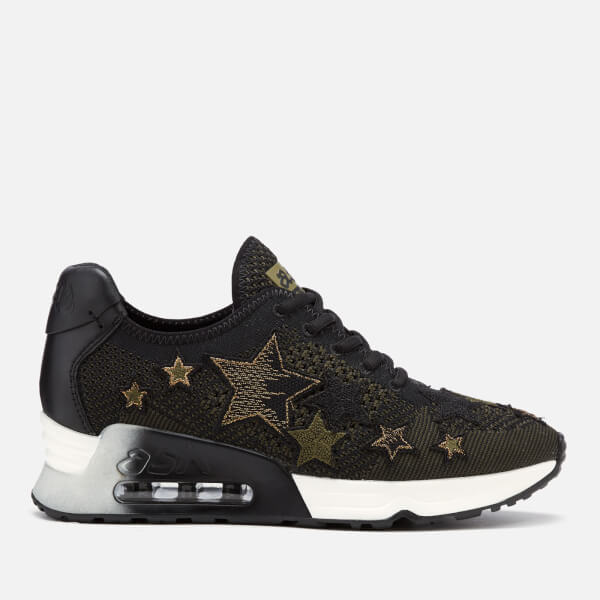 Ash Women's Lucky Star Knitted Runner Trainers - Black/Army