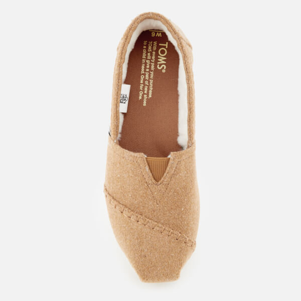 d442ee7f45 TOMS Women s Seasonal Classic Wool Faux Shearling Lined Slip On Pumps -  Toffee  Image