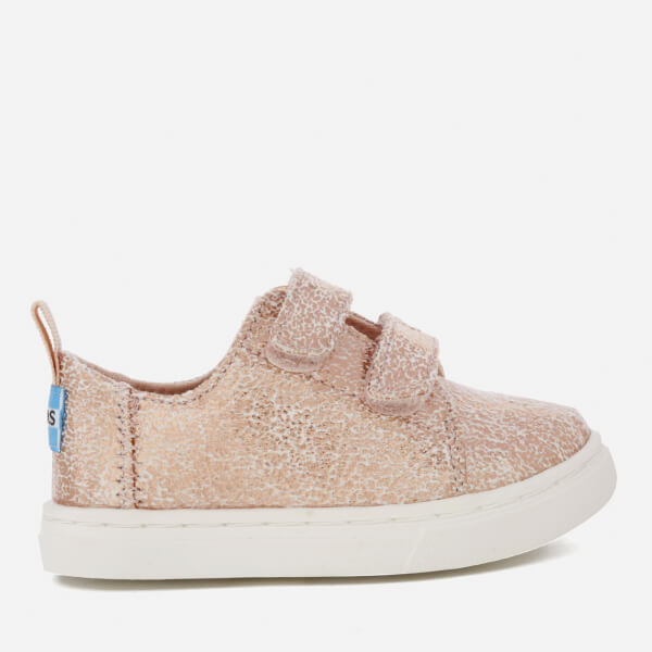 b1b94b9764a2 TOMS Toddlers  Lenny Double Velcro Trainers - Rose Gold Crackle Foil  Image  1