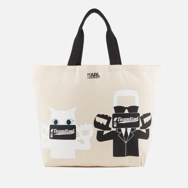 Karl Lagerfeld The Photographer Canvas Shopper Bag - Beige