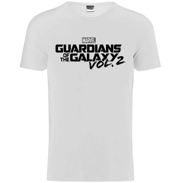 Marvel Men's Guardians of the Galaxy Vol. 2 Black Logo T-Shirt - White