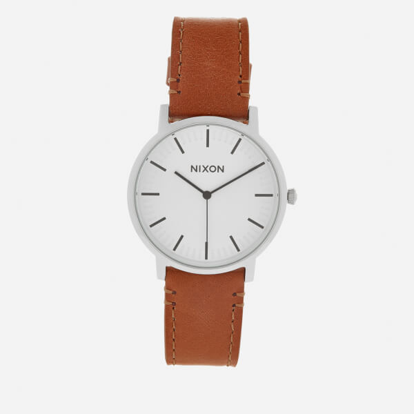 Nixon Men's The Porter Leather Watch - White Sunray/Saddle