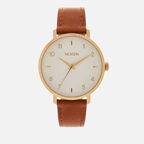 Nixon Women's The Arrow Leather Watch - Gold/White/Saddle