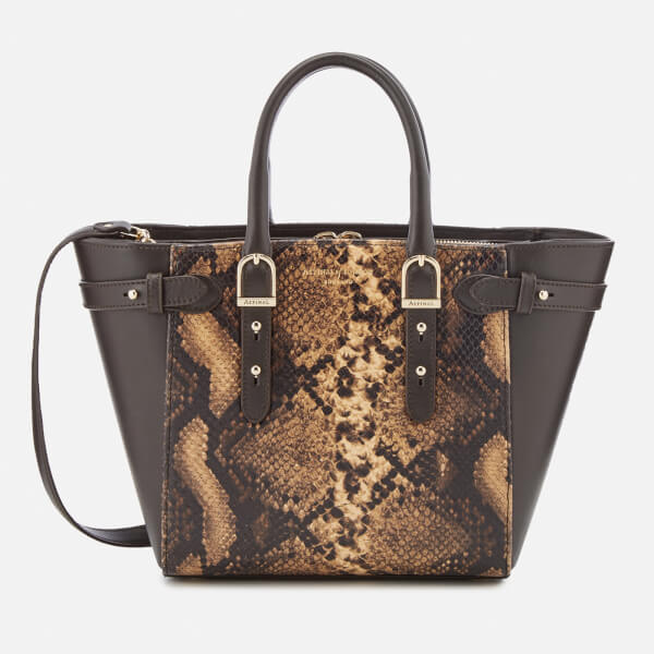 Aspinal of London Women's Marylebone Mini Tote Bag - Tan Snake/Brown