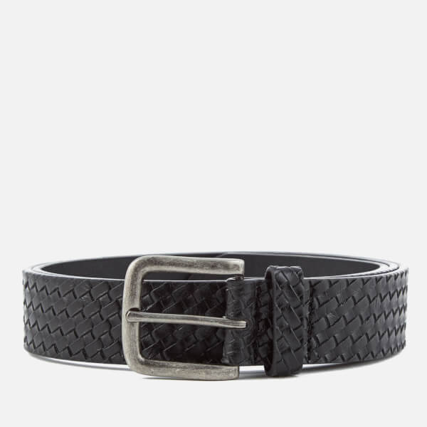 Ben Sherman Men's Bonded Leather Weave Embossed Belt - Black