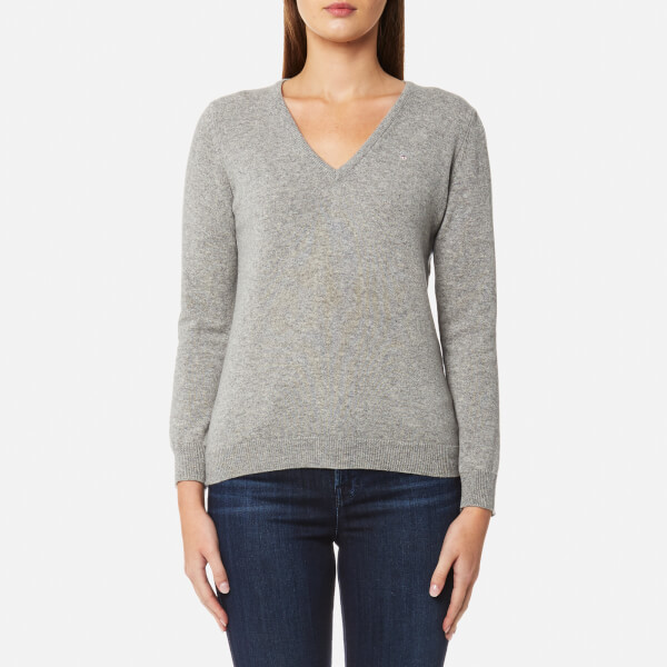 GANT Women's Super Fine Lambswool V Neck Jumper - Grey Melange