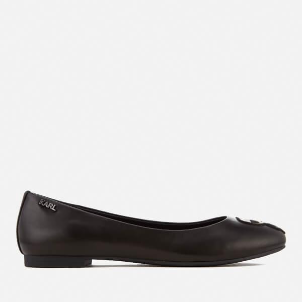 Karl Lagerfeld Women's Leather Klara Ikonic Ballet Flats - Black