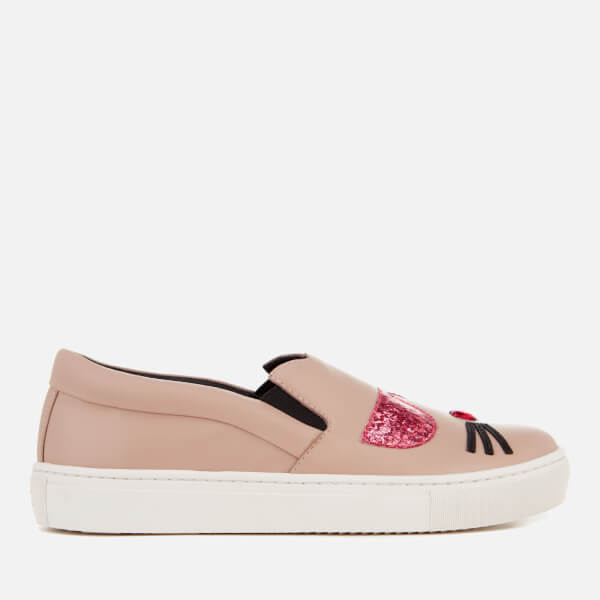 Karl Lagerfeld Women's Kupsole Leather Choupette Toe Slip-On Trainers - Light Pink