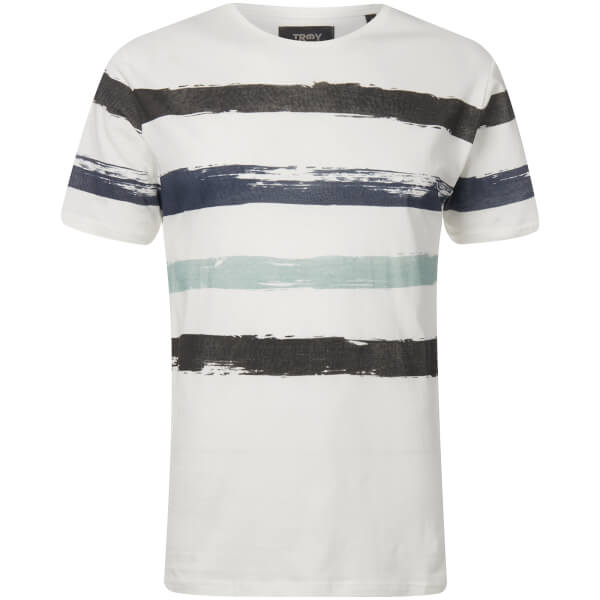 Troy Men's Art Printed Stripe T-Shirt - Cloud Dancer