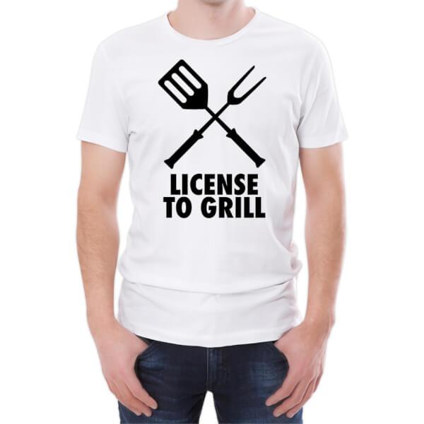 T-Shirt Homme Permis de Griller -Blanc