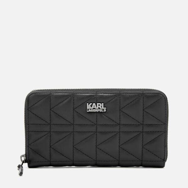 Karl Lagerfeld Women's K/Kuilted Zip Wallet Core - Black