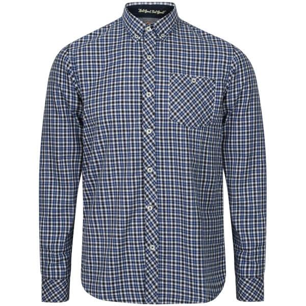 Tokyo Laundry Men's Sicily Checked Long Sleeve Shirt - Sapphire Blue